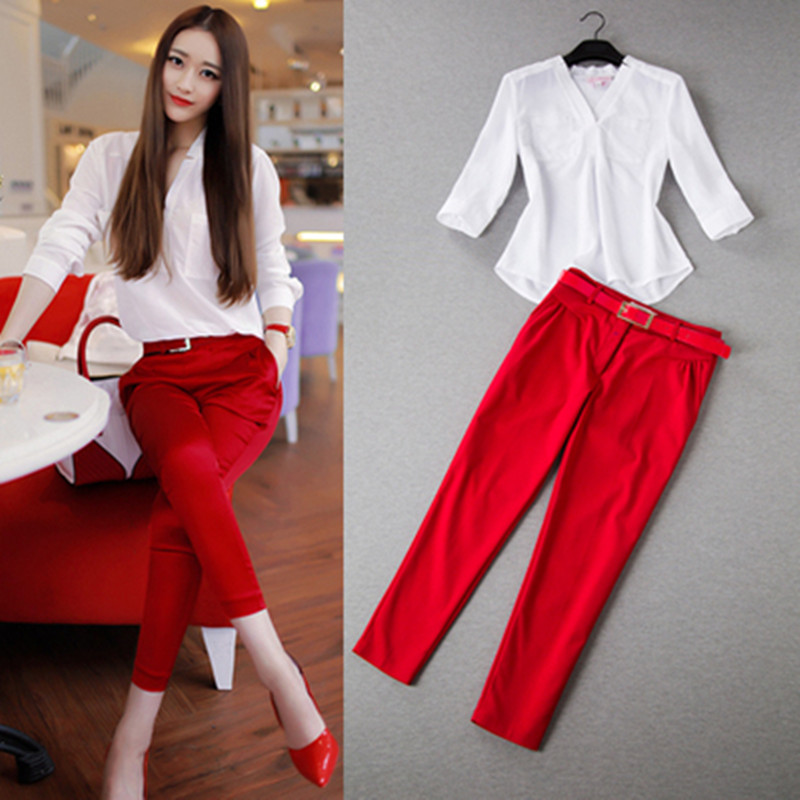 Summer Women Sets Two Piece Ol Fresh Office Wear White Three Quarter Sweet V-neck Shirt + Ankle-length Pants Women Sets