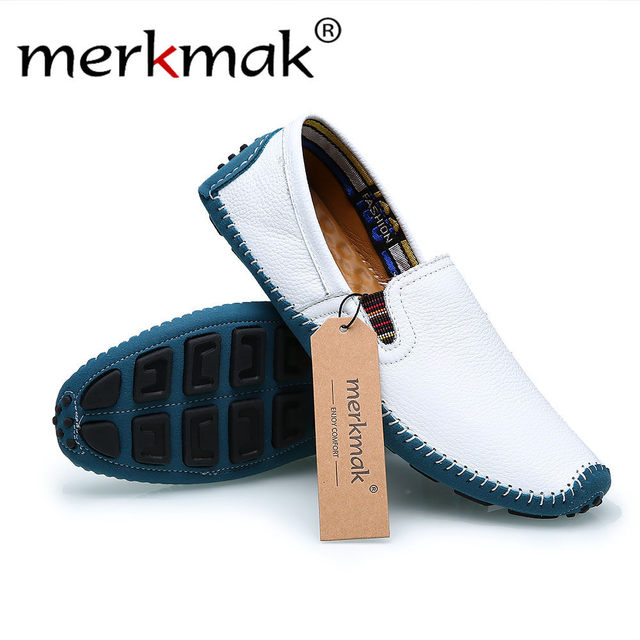 Merkmak Fashion Men Loafers Shoes Casual Brand British Style Design Slip On Comfortable Breathable Man Flats Footwear Shoes