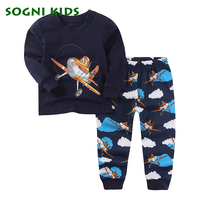 Baby Boy Girl Clothing Set Children Pajama Nightwear For Knitted Plane Brand Clothes Toddler Long Sleeve