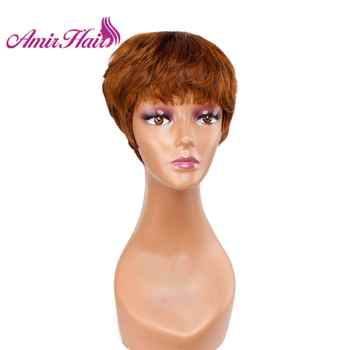 Amir Short wigs Synthetic Hair Puffy Black Mixed Blonde Brown Gray Straight Wig Short Pixie HairCut Style Mommy Wigs for Women