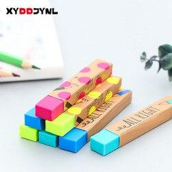 1 шт. каваи Канцтовары прямоугольник 2B карандаш резиновый ластик для студентов призы, подарок, сплошной цвет мягкий ластик для школы