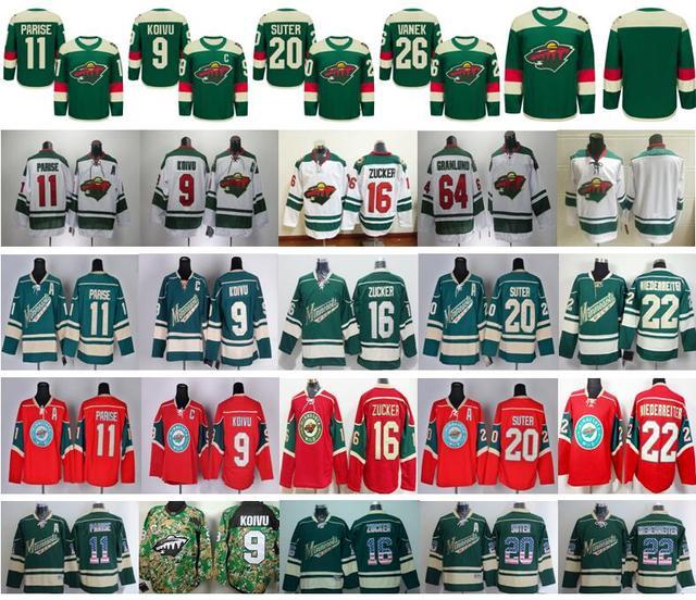sale retailer e791f 6f242 US $24.88 |Minnesota Wild Jerseys 2016 Stadium Series Hockey Mikko  Koivu,Zach Parise,Ryan Suter,Thomas Vanek,Mikael Granlund,Niederreiter-in  Hockey ...