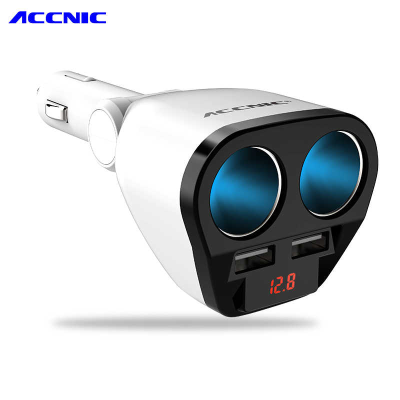 Original ACCNIC 12V/24V Universal Car USB Car cigarette lighter adapter socket converter 5V 1A 2.4A Car Voltage Diagnose Display
