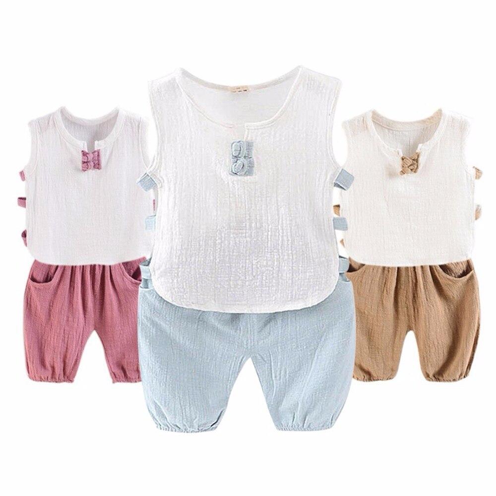 2018 Kids Children Baby Boys Girls Summer Casual Comfort Cotton Vest Shorts Suit 2 pcs Sets Clothing