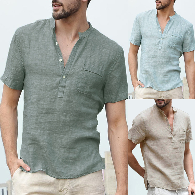 V Neck Henley Collar Basic Solid Button Loose Fit Shirts
