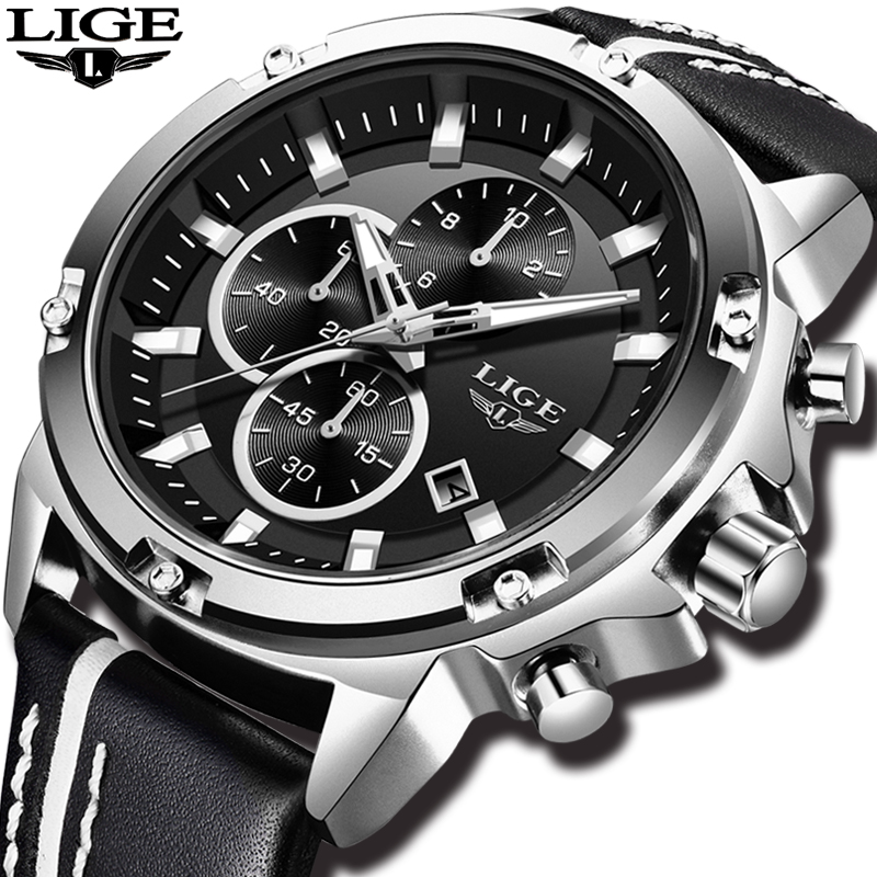 Relogio Masculino 2018 LIGE hommes montres Top marque de luxe montre hommes décontracté en cuir militaire étanche sport montre-bracelet à Quartz