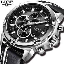 Relogio Masculino 2018 LIGE relojes para hombre, relojes de lujo de marca superior, reloj de pulsera informal de cuero militar resistente al agua deportes de cuarzo