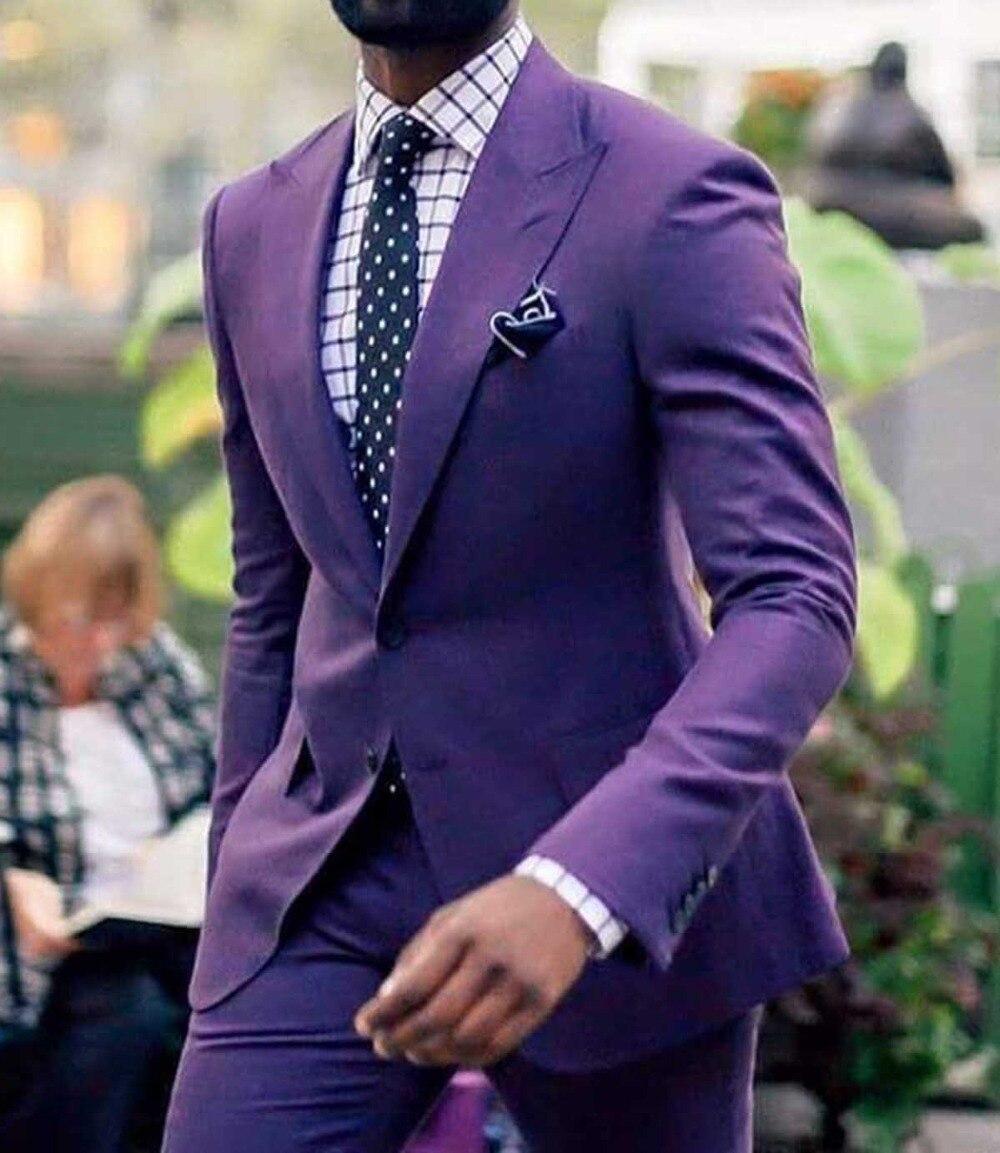 2019 nuevo hombre 2 piezas traje lavanda Formal solapa Slim Fit esmoquin dos botones plano padrino blazer para boda (Blazer + Pantalones)-in chaqueta de deporte from Ropa de hombre    1