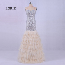LORIE New Fashion Feather Evening Dress Luxury 2017 Sweetheart Beaded with Stones Mermaid Prom Dress with