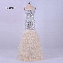 LORIE Nueva Pluma de La Manera Del Vestido de Noche de Lujo 2017 Rebordeado Amor con Piedras Sirena Vestido de Fiesta con Cristales abendkleider