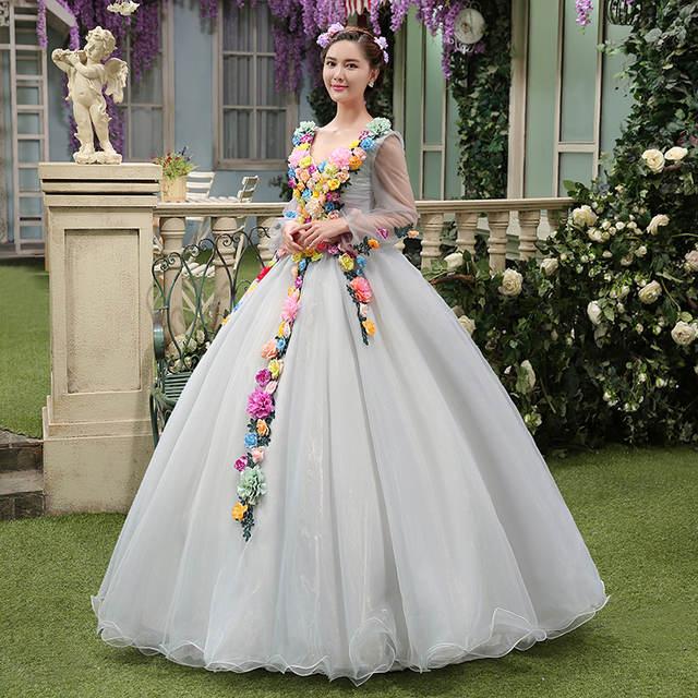 Online Shop Light Grey Full Silk Flowers Decoration Princess