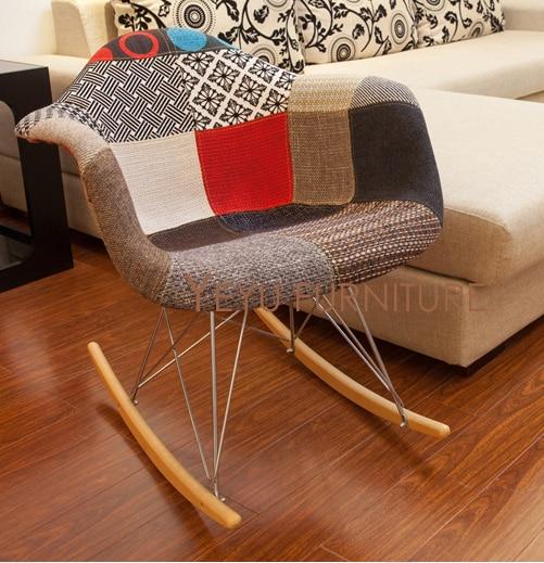 Minimalist Modern Design Patchwork Fabric Rocking Chair