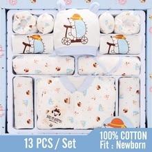 13 шт., одежда для маленьких мальчиков хлопковая одежда для новорожденных Розовая Одежда для новорожденных девочек с изображением ежика и звезды комплекты для мальчиков