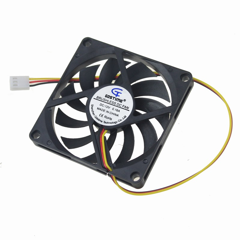 1 Piece Gdstime 3 Pin DC Fan 80mm 80x80x10mm 8cm 12V PC Computer CPU Cooler Cooling Fan 3 Wire FG 8010 Mute Cooler High Quality gdstime 1 piece dc 12v 2 pin 140x140mm 14025 cpu computer case cooling fan 140mm x 25mm 14cm pc cooler 5 5 inch