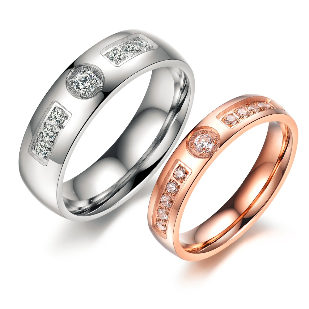 His And Hers Matching Ring Set Engagement Promise Rings Stainless Steel  Jewelry Lovers' Gift Anniversary