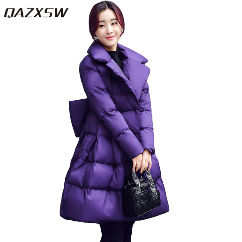 QAZXSW 2017 New Winter Cotton Coats Women Warm Padded Jacket For Girls Parkas Long Pretty Style Ladies Jacket Bow Overcoat HB260 qazxsw 2017 new winter cotton coats women padded jacket for girls thick loose warm outwear stand collar casual long parkas hb251