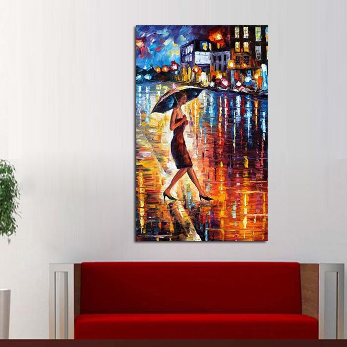 handgemalte moderne bilder auf leinwand lady fu hang gemlde in der regen lgemlde gemlde messer landschaft - Moderne Bder