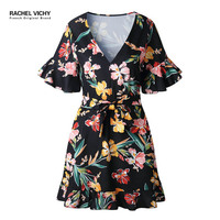 Deep V neck new summer Floral Print Boho Beach dress short ukraine robe party dresses lady vintage clothes 2128 dress RV0042