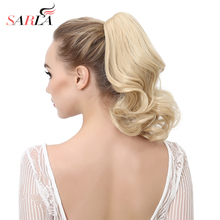 SARLA 14″ Short Natural Wavy Synthetic Hair Extension Claw-In Pony Tail High Temperature Fiber Heat-friendly Hairpieces P004