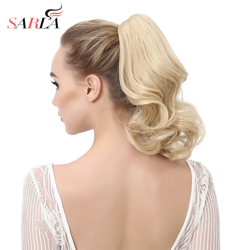 """SARLA 14"""" Short Natural Wavy Synthetic Hair Extension Claw-In Pony Tail High Temperature Fiber Heat-friendly Hairpieces P004"""