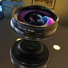 Объектив для телефона Flower Bud 5K HD широкоугольный макрообъектив без искажений 0.45X профессиональная камера 2 в 1 для смартфона iPhone мобильного телефона