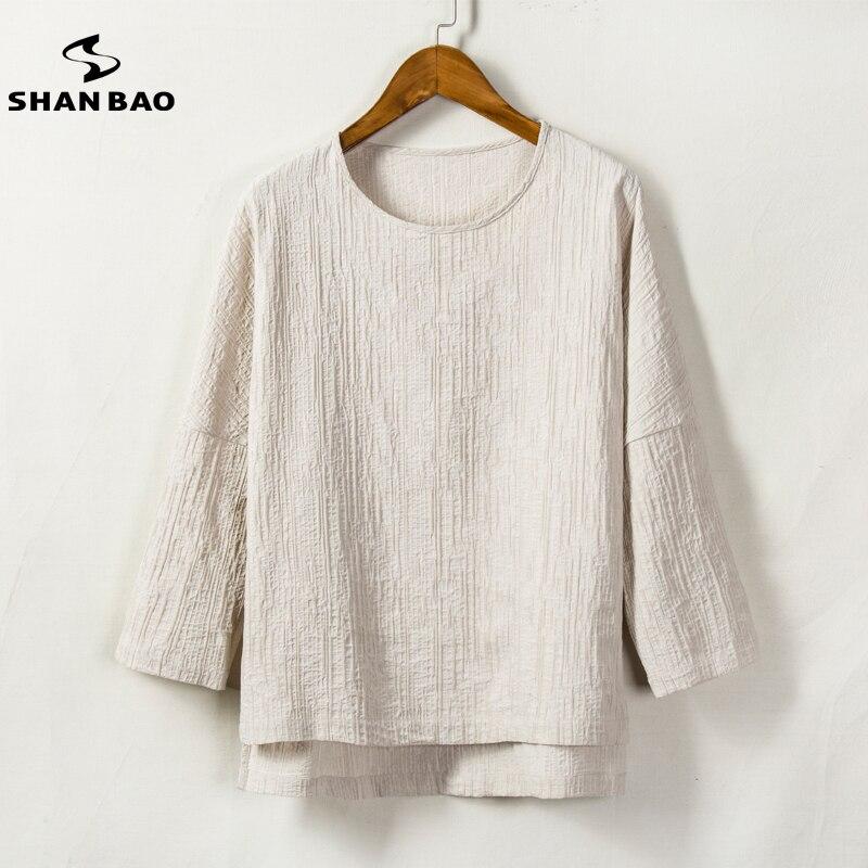 SHAN BAO brand 2018 spring and summer comfortable breathable Loose Sleeve T shirt Men's linen T shirt white black Khaki Navy