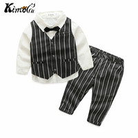 Kimocat jongens casual suits kleding mode winter peuter baby outfit baby pak Zuigeling Formele Gentleman Stropdas Pak streep kids