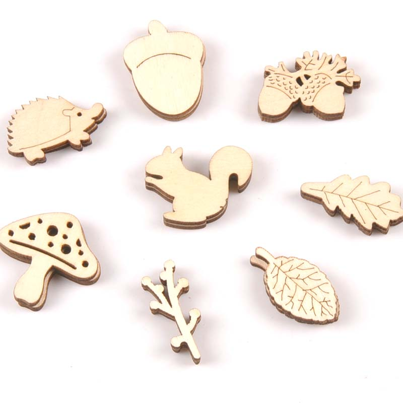 Mix Mushroom/hedgehog/squirrel/Pine Cones/leaves Pattern Wooden Ornament Wood For Scrapbooking DIY Carfts Home Decor 20pcs M2154