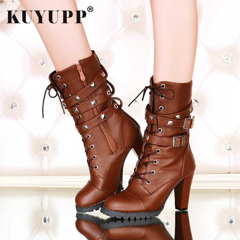Plush Size Women Ankle Boots Spring Autumn 2017 high heels lace up pu leather shoes zipper platform short booties new 1DDT06