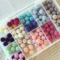 SANSHOOR Al Neon Commercio All'ingrosso di Colori Misti Crochet Acrilico Gomma Rotonda Dei Branelli della Sfera Per Fatti A Mano Fai Da Te Collana 100 pz/lotto MXQ-001AH