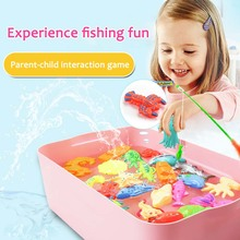 1set Magnetic Fishing Toy Rod Net Set  3D Fish Plastic Outdoor Parent Children Play Water Fun Game Toys for Baby Kids Education
