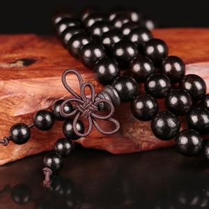 Image 3 - 6mm 8mm 10mm 12mm * 108 Perlen Ebenholz Buddhistischen Buddha Meditation Gebetskette Mala Armband frauen Männer Yoga Schmuck