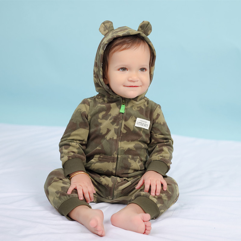 Orangemom 2019 autumn fleece baby rompers coats for infant clothes hooded with ear lovely camo jumpsuits for baby clothes