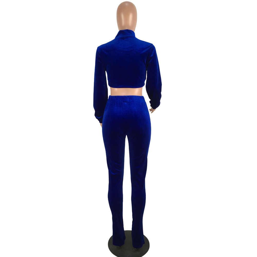 HAOOHU ฤดูใบไม้ร่วง Elastic ผู้หญิง 2 ชิ้นชุดฤดูหนาวหญิง Tracksuit Top + กางเกงสตรีสุภาพสตรีชุด Femme Overalls