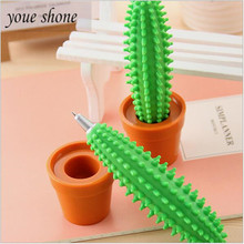 1PCS Creative stationery cactus style ballpoint pens student prize bonsai modeling pen for Blue water 0.5mm bullet