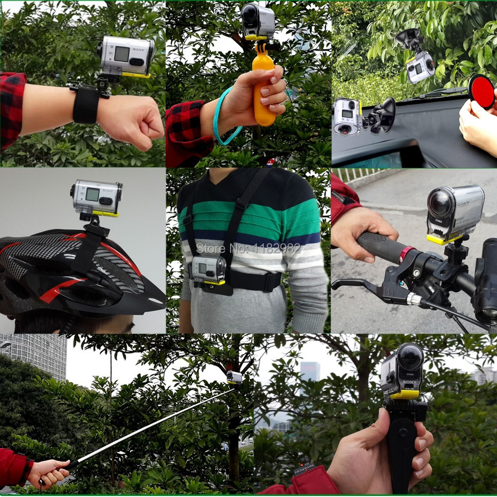 10in1 1set Outdoor Sports Accessories Kit + Helmet Strap Mount + Chest Belt Strap Mount for Action Cam HDR-AS20/AS30V/AS100V