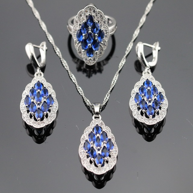 Blue Created Sapphire White CZ Silver Color Jewelry Sets For Women Christmas Necklace Pendant Earrings Rings Free Gift Box