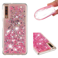 Shining quicksand TPU anti-fall Love Heart phone case is suitable for Samsung Galaxy A7 2018