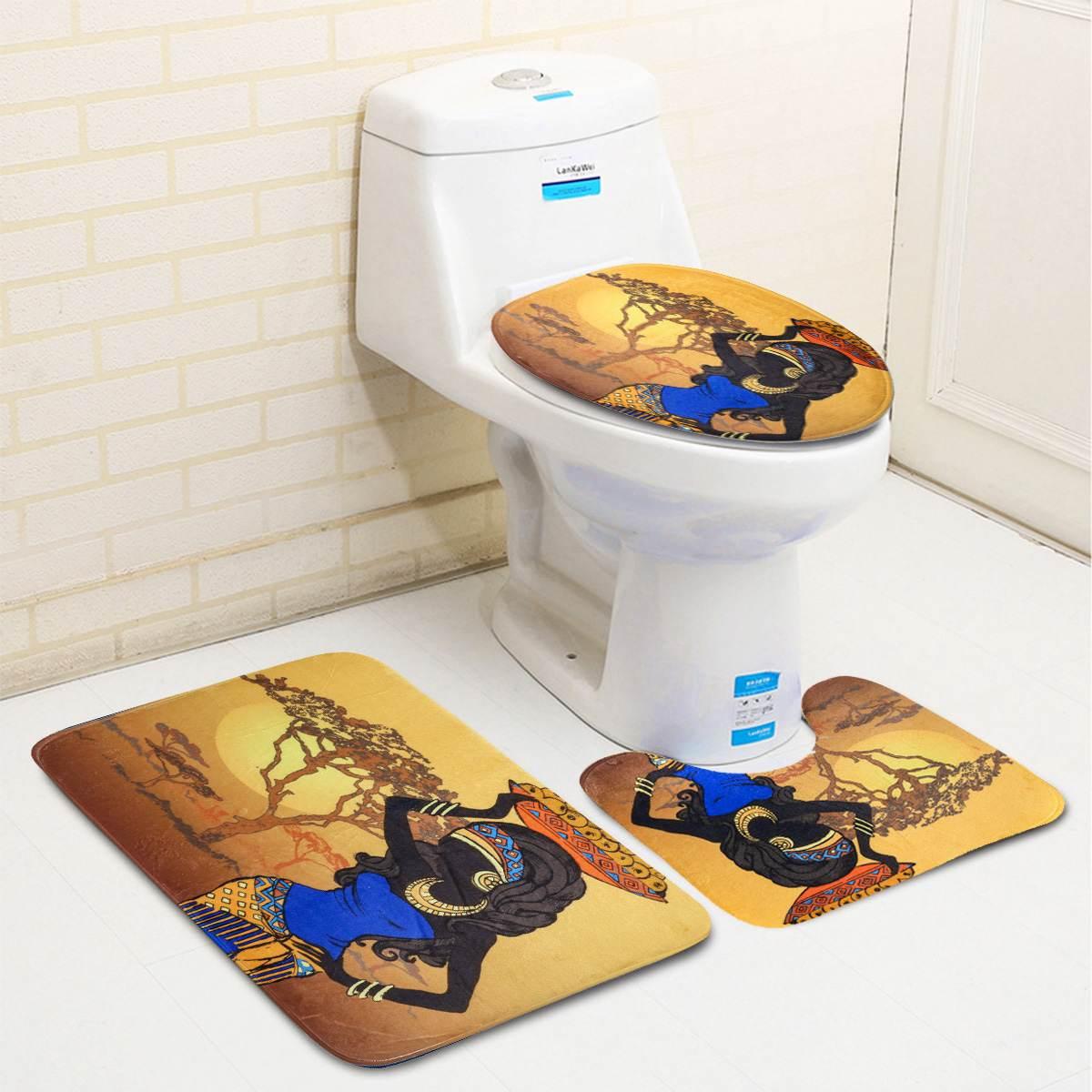 4Pcs Exotic African Girl Bathroom Shower Curtain Toilet Non-Slip Cover Mat Set