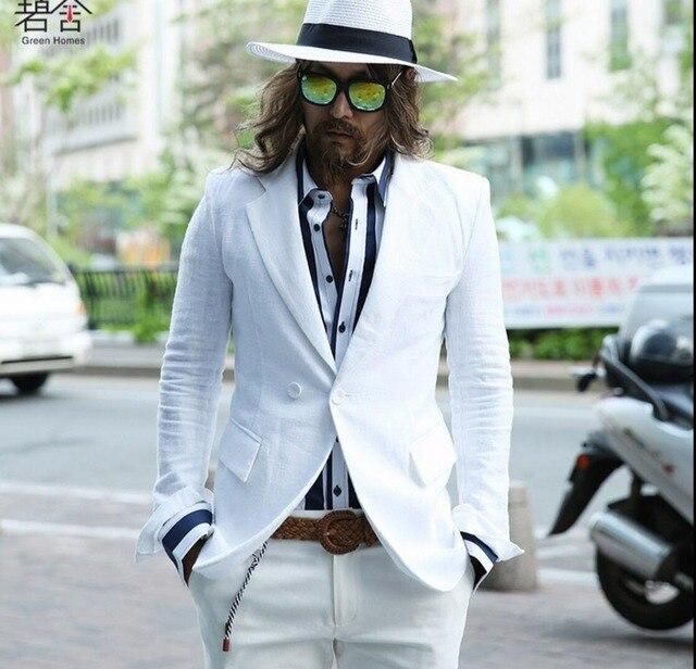 HOT 2016 spring Korean version new men small suit handsome white linen suit thin coat singer nightclub costumes /S-3XL