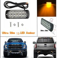 Extra Thin Bright 12W Led Car Surface Mounting Emergency Lights Warning Lights Lightheads Sidelight 16flash Waterproof