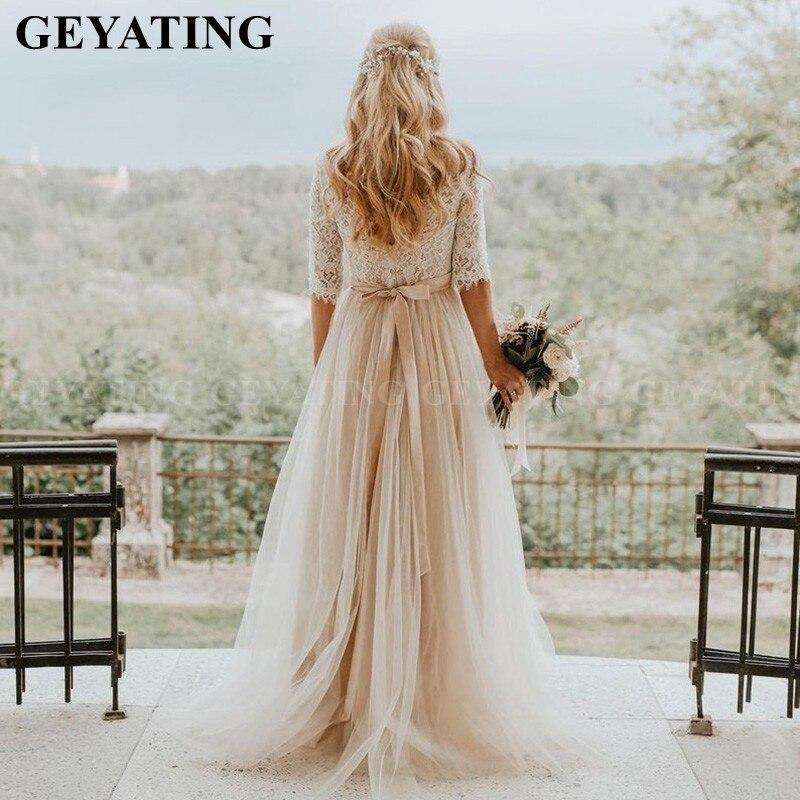Champagne Tulle Boho Wedding Dress