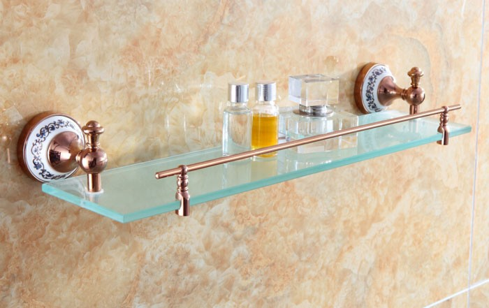 Free shipping Bathroom Accessories Solid Brass Golden Finish With Tempered Glass,Single Glass Shelf bathroom shelf RG003 bathroom accessories solid brass golden finish with tempered glass crystal double glass shelf bathroom shelf free shipping 6314