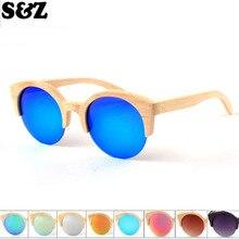 Китайский местный бренд натуральный бамбук женские классические солнцезащитные очки кошачий глаз цветная пленка деревянные очки полуоправы очки персонализированные