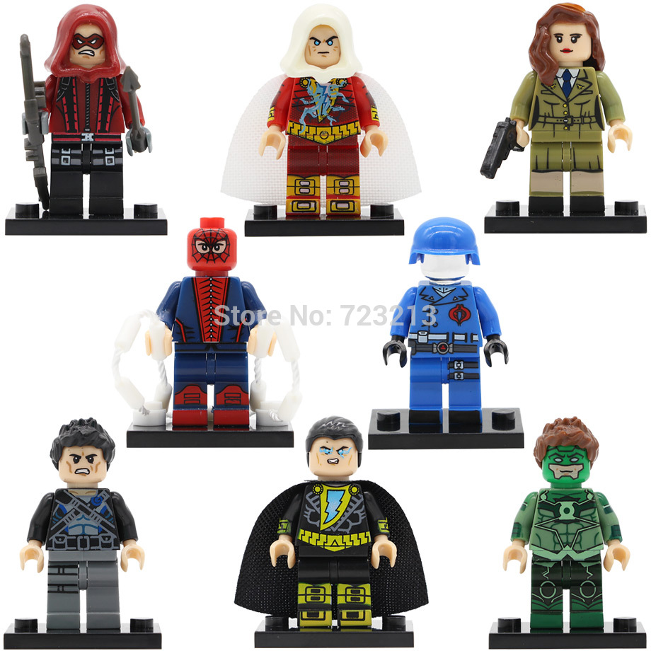 все цены на  Super Hero Figure DC Black Adam Carter Spider-man Dick Grayson Red Arrow Shazam Green Lantern Building Blocks Model Toy KL9005  онлайн