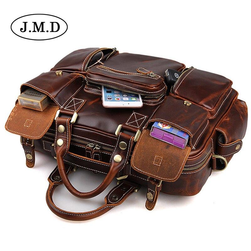 J.M.D Cowhide genuine leather Men's sac multi-pocket large capacity vintage Totes Bag handbag Laptop Business Travel Bag 7028