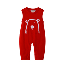 Auro Mesa Newborn Baby Knitted Sleeveless Romper One Piece Red Overalls Character Jumper