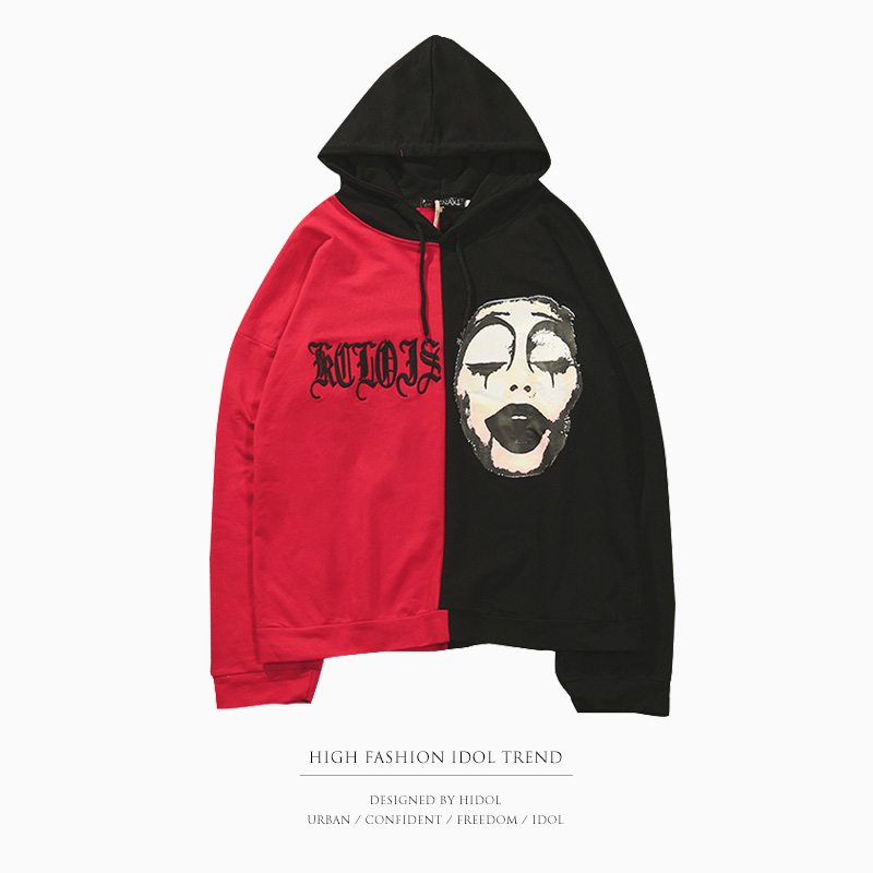 Oversize Patchwork Hoodie Halloween Print Gothic Letter Embroidery Hooded Pullover Sweatshirt Red/Black Hip Hop Swag Men Kanye