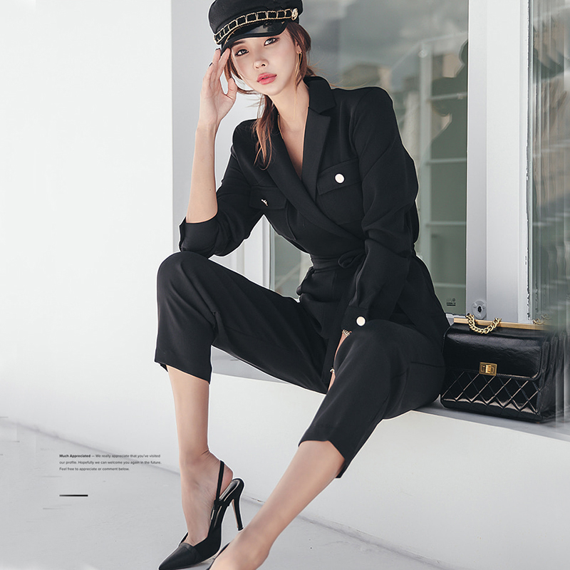 Fashion Full Sleeve Lace Up   Jumpsuit   Black Notched Women Work Business Ankle-length Pant   Jumpsuits   Slim Waist Long Playsuit 2018
