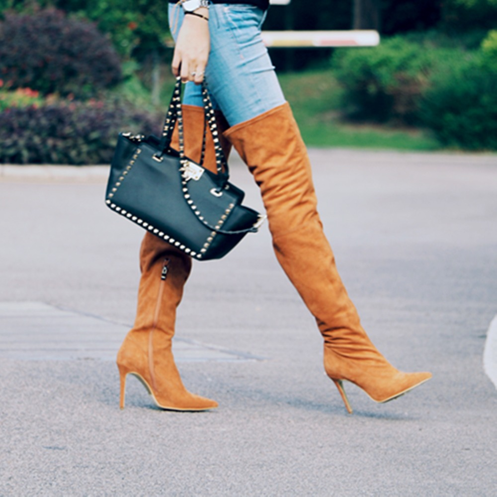 цены Hot Sale Women Autumn Winter Tight High Boots Stilettos Sexy Over the Knee Boots Pointed Toe High Heel Long Shoes with Zipper